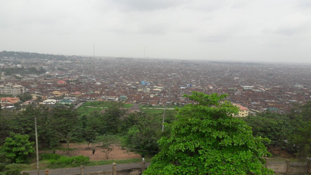 The brown roofs in Ibadan from atop Bower's Tower