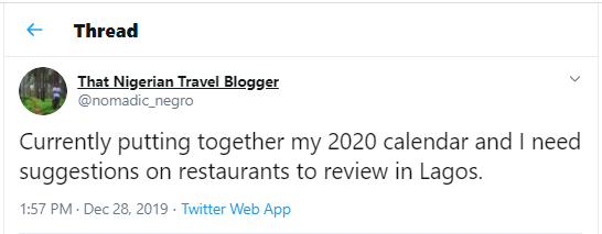 A tweet calling for restaurant suggestions